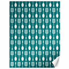 Teal And White Spatula Spoon Pattern Canvas 36  X 48   by creativemom