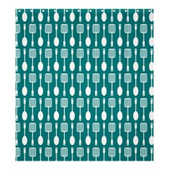 Teal And White Spatula Spoon Pattern Shower Curtain 66  X 72  (large)