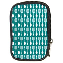 Teal And White Spatula Spoon Pattern Compact Camera Cases by creativemom