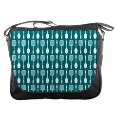 Teal And White Spatula Spoon Pattern Messenger Bags by creativemom