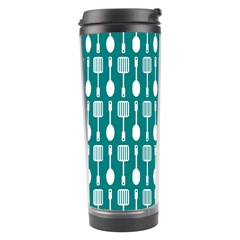 Teal And White Spatula Spoon Pattern Travel Tumblers by creativemom
