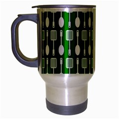 Green And White Kitchen Utensils Pattern Travel Mug (Silver Gray) by creativemom