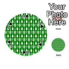 Green And White Kitchen Utensils Pattern Playing Cards 54 (round)