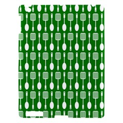 Green And White Kitchen Utensils Pattern Apple Ipad 3/4 Hardshell Case by creativemom