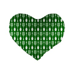 Green And White Kitchen Utensils Pattern Standard 16  Premium Flano Heart Shape Cushions by creativemom
