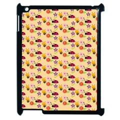 Colorful Ladybug Bess And Flowers Pattern Apple iPad 2 Case (Black) by creativemom