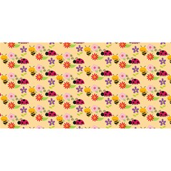 Colorful Ladybug Bess And Flowers Pattern You Are Invited 3d Greeting Card (8x4)