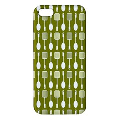 Olive Green Spatula Spoon Pattern iPhone 5S Premium Hardshell Case by creativemom