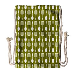 Olive Green Spatula Spoon Pattern Drawstring Bag (large) by creativemom