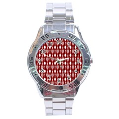 Red And White Kitchen Utensils Pattern Stainless Steel Men s Watch by creativemom