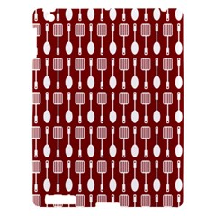 Red And White Kitchen Utensils Pattern Apple Ipad 3/4 Hardshell Case by creativemom