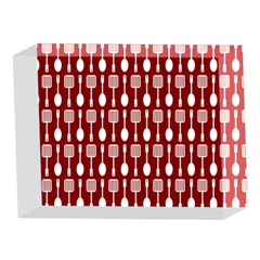 Red And White Kitchen Utensils Pattern 5 x 7  Acrylic Photo Blocks