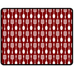 Red And White Kitchen Utensils Pattern Double Sided Fleece Blanket (Medium)  by creativemom