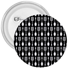 Black And White Spatula Spoon Pattern 3  Buttons by creativemom