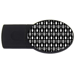 Black And White Spatula Spoon Pattern Usb Flash Drive Oval (4 Gb)  by creativemom