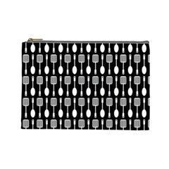 Black And White Spatula Spoon Pattern Cosmetic Bag (large)  by creativemom