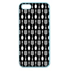 Black And White Spatula Spoon Pattern Apple Seamless Iphone 5 Case (color) by creativemom