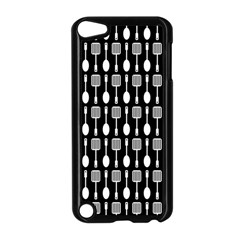 Black And White Spatula Spoon Pattern Apple Ipod Touch 5 Case (black) by creativemom