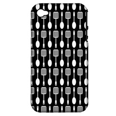 Black And White Spatula Spoon Pattern Apple Iphone 4/4s Hardshell Case (pc+silicone) by creativemom