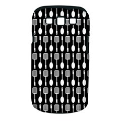 Black And White Spatula Spoon Pattern Samsung Galaxy S III Classic Hardshell Case (PC+Silicone) by creativemom