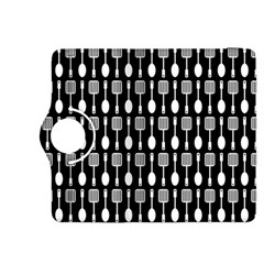 Black And White Spatula Spoon Pattern Kindle Fire HDX 8.9  Flip 360 Case by creativemom