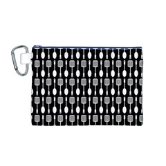 Black And White Spatula Spoon Pattern Canvas Cosmetic Bag (m)