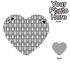 Gray And White Kitchen Utensils Pattern Playing Cards 54 (Heart)  by creativemom