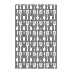 Gray And White Kitchen Utensils Pattern Shower Curtain 48  X 72  (small)  by creativemom