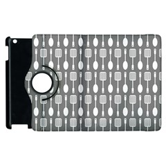 Gray And White Kitchen Utensils Pattern Apple Ipad 2 Flip 360 Case by creativemom