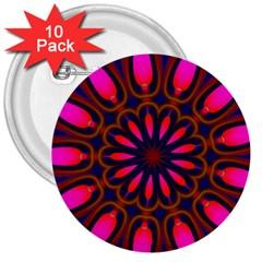 Kaleido Fun 06 3  Buttons (10 Pack)  by MoreColorsinLife