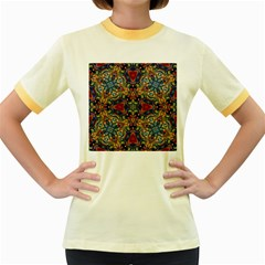 Magnificent Kaleido Design Women s Fitted Ringer T Shirts by MoreColorsinLife
