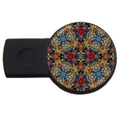 Magnificent Kaleido Design Usb Flash Drive Round (2 Gb)  by MoreColorsinLife