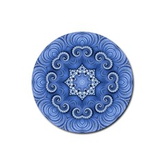 Awesome Kaleido 07 Blue Rubber Coaster (round)  by MoreColorsinLife