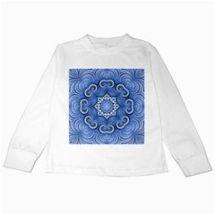 Awesome Kaleido 07 Blue Kids Long Sleeve T Shirts by MoreColorsinLife