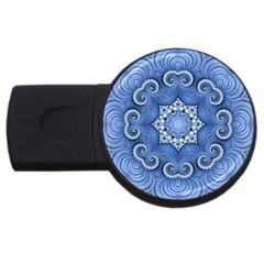 Awesome Kaleido 07 Blue Usb Flash Drive Round (4 Gb)  by MoreColorsinLife