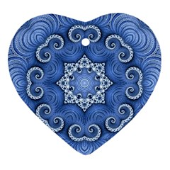 Awesome Kaleido 07 Blue Heart Ornament (2 Sides) by MoreColorsinLife