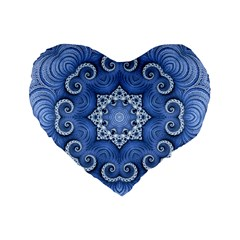 Awesome Kaleido 07 Blue Standard 16  Premium Flano Heart Shape Cushions by MoreColorsinLife