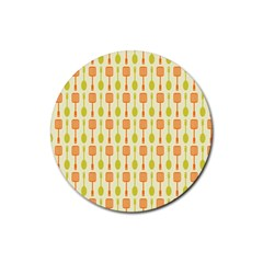 Spatula Spoon Pattern Rubber Coaster (Round)  by creativemom