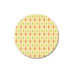 Spatula Spoon Pattern Magnet 3  (round) by creativemom