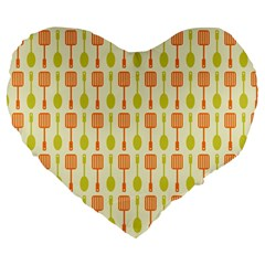 Spatula Spoon Pattern Large 19  Premium Heart Shape Cushions by creativemom