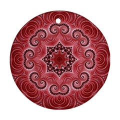 Awesome Kaleido 07 Red Ornament (round)  by MoreColorsinLife