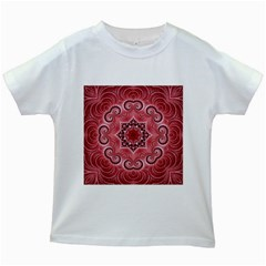 Awesome Kaleido 07 Red Kids White T Shirts by MoreColorsinLife