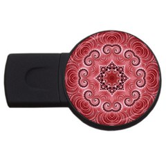 Awesome Kaleido 07 Red Usb Flash Drive Round (2 Gb)  by MoreColorsinLife