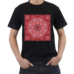 Awesome Kaleido 07 Red Men s T Shirt (black) by MoreColorsinLife