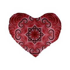Awesome Kaleido 07 Red Standard 16  Premium Heart Shape Cushions by MoreColorsinLife