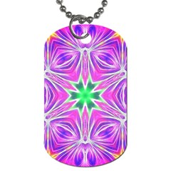 Kaleido Art, Pink Fractal Dog Tag (two Sides) by MoreColorsinLife