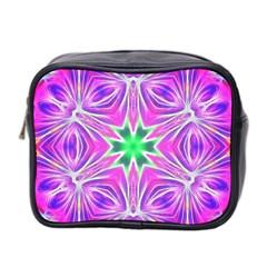 Kaleido Art, Pink Fractal Mini Toiletries Bag 2 Side by MoreColorsinLife