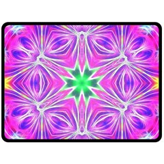Kaleido Art, Pink Fractal Fleece Blanket (large)  by MoreColorsinLife