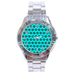 Abstract Knot Geometric Tile Pattern Stainless Steel Men s Watch by creativemom