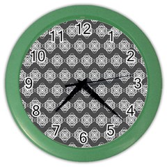 Abstract Knot Geometric Tile Pattern Color Wall Clocks by creativemom